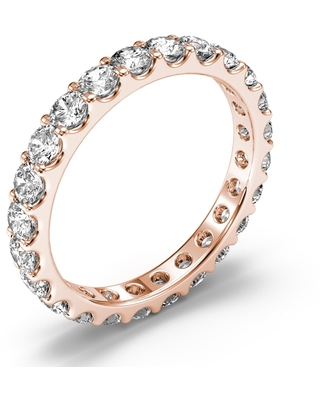 Amcor Design 14KT Rose Gold 1.40 CT Round Cut Shared Prong Diamond Stackable Eternity Anniversary Wedding Ring (4.5)