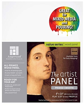 """Ampersand Art Supply Wood Gesso Artist Painting Panel: Primed Smooth, 8"""" x 10"""", 3/8"""" Flat Profile"""