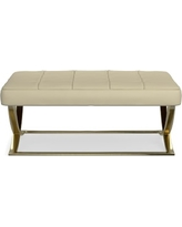 James Large Ottoman, Brass, Faux Suede, Solid, Champagne