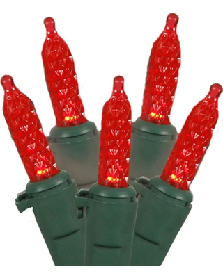 Vickerman 1.75 in. Red LED M5 Mini Christmas Lights with Green Wire (Set of 70)