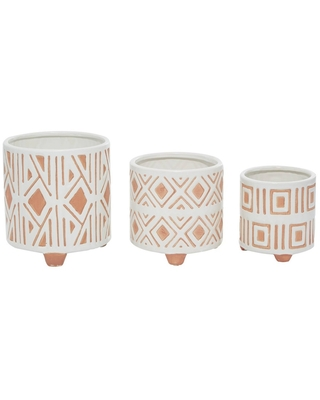 Set of 3 Porcelain Planter with Legs Peach/White - Olivia & May
