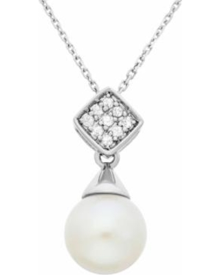 """""""Freshwater Cultured Pearl and Diamond Accent Sterling Silver Pendant Necklace, Women's, Size: 18"""", White"""""""