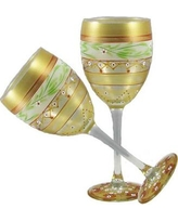 Golden Hill Studio Mosaic Garland Wine Glass WC996001 / WC997001 Color: Gold