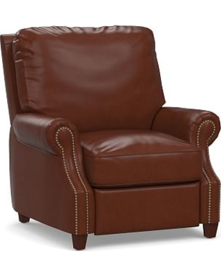 James Leather Power Tech Recliner, Down Blend Wrapped Cushions, Signature Whiskey