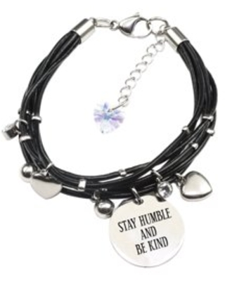 Genuine Leather Bracelet made with Crystals from Swarovski - Stay humble