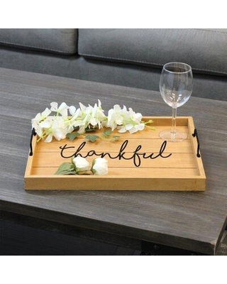 """Gracie Oaks Cecilie Wood Serving Tray, Wood in Brown, Size Large (12-17"""" W) 