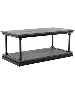 Furniture of America Blue River 47.25 in. Antique Gray and Black Rectangle Wooden Coffee Table