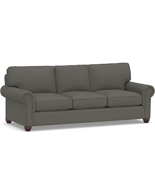 """Webster Roll Arm Upholstered Grand Sofa 95"""" with Bronze Nailheads, Down Blend Wrapped Cushions, Sunbrella(R) Performance Boss Herringbone Charcoal"""