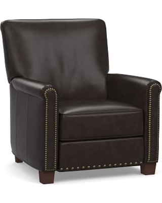 Irving Roll Arm Leather Power Recliner with Bronze Nailheads, Polyester Wrapped Cushions, Vintage Midnight
