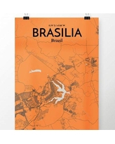 """OurPoster.com 'Brasilia City Map' Graphic Art Print Poster in Orange OP-BSB Size: 17"""" H x 11"""" W"""