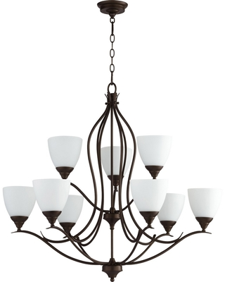 Quorum Flora 9-Light 26 inch Transitional Chandelier in Oiled Bronze