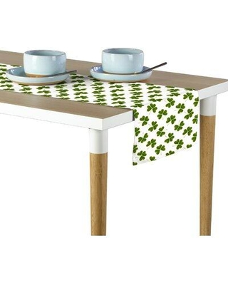 """East Urban Home Outlined Clovers Table Runner W001639737 Size: 108"""" x 14"""""""