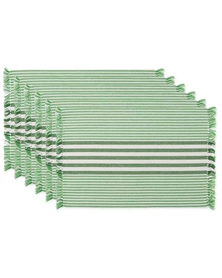 DII Multi Stripe Collection Tabletop, Placemat Set, Grass Green 6 Piece