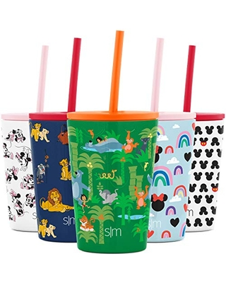 Simple Modern Disney Water Bottle for Kids Reusable Cup with Straw Sippy Lid Insulated Stainless Steel Thermos Tumbler for Toddlers Girls Boys, 12oz, Jungle Book Friends