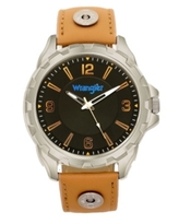 Wrangler Men's Watch, 53.5MM Silver Colored Case, Black Dial with Notched Bezel, Zoned Dial with White Arabic Numerals, Wheat Leather Strap with Rivets, White Second Hand