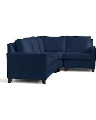 Cameron Square Arm Upholstered Left Arm 3-Piece Wedge Sectional, Polyester Wrapped Cushions, Performance Everydayvelvet(TM) Navy