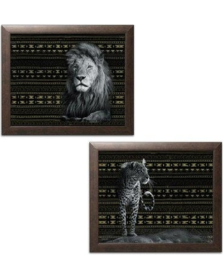 """Bloomsbury Market 'Traditional Patterned Leopard and Patterned Lion' 2 Piece Graphic Art Print Set BF042214 Size: 12"""" H x 16"""" W x 0.75"""" D Format: Brown Frame"""