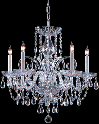 Crystorama Traditional Crystal 5-Light 21 inch Traditional Chandelier in Polished Chrome with Clear Spectra Crystals