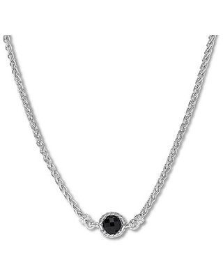 """Onyx Necklace Sterling Silver 18"""""""