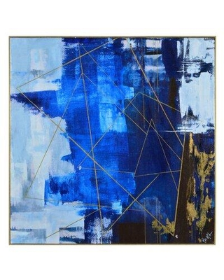 """Ivy Bronx 'Outer Limits' Framed Painting Print on Canvas, Canvas & Fabric in Blue/Black, Size Large 33""""-40"""" Oversized 41""""+ 