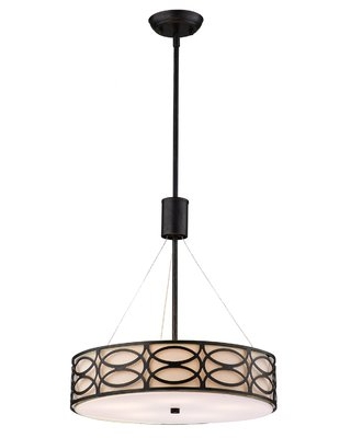 Teo 5 - Light Shaded Drum Chandelier with Linen Accents House of Hampton