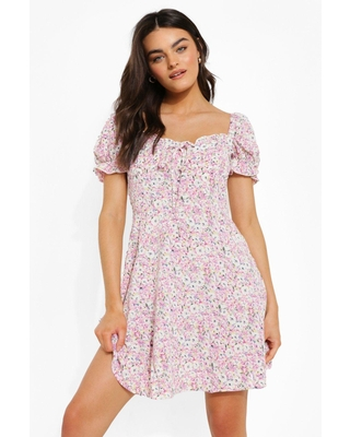 Womens Ditsy Floral Puff Sleeve Skater Dress - Purple - 8