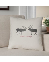 """The Holiday Aisle Glad Tidings Indoor/Outdoor Throw Pillow THDA8961 Size: 20"""" H x 20"""" W x 4"""" D, Color: White / Black / Red"""