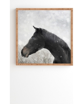 """12""""x12"""" Chelsea Victoria Winter Horse Framed Wall Art Poster Print Brown - Deny Designs"""