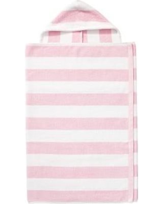Rugby Stripe Bath Wrap, Kid Size, Light Pink