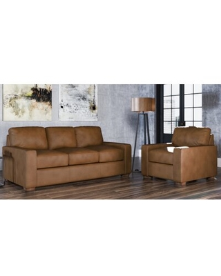 Blanca 2 Piece Leather Living Room Set Westland and Birch Upholstery Color: Charcoal