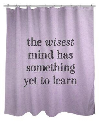East Urban Home Handwritten Learning Inspirational Quote Shower Curtain EBKM6314 Color: Purple/Black