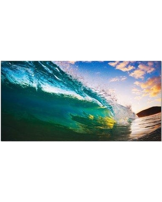 """Design Art Ocean Wave at Sunset Photographic Print on Wrapped Canvas, Canvas & Fabric in Brown/Blue/Yellow, Size 20"""" H x 40"""" W 