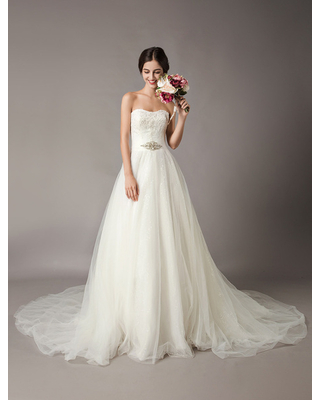 Milanoo Wedding Dresses Ivory Strapless Lace Beaded Chapel Train Bridal Gowns