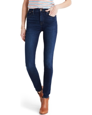 Women's Madewell 10-Inch High Rise Skinny Jeans, Size 29 - Blue