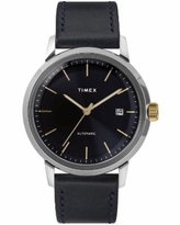 Timex Marlin Automatic 40mm Leather Strap Watch - Navy