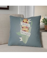 """The Holiday Aisle Give Thanks Indoor/Outdoor Throw Pillow HLDY1195 Size: 18"""" H x 18"""" W x 4"""" D, Color: Blue/Green/Red/Yellow"""