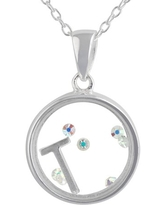 """Crystal Charm Sterling Silver Initial """"T"""" Pendant, 18"""""""