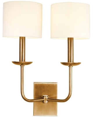 Hudson Valley Kings Point 14.75 inch 2-Light Wall Sconce in Aged Brass