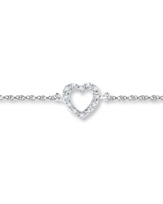Heart Anklet 1/20 ct tw Diamonds Sterling Silver