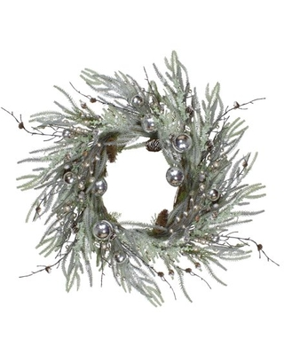 """28"""" Artificial Pine Frosted Christmas Wreath with Silver Berries-Unlit"""
