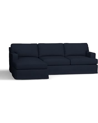 Townsend Square Arm Slipcovered Right Chaise Sofa Sectional, Polyester Wrapped Cushions, Twill Cadet Navy