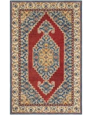 Charlton Home Clymer Antiquity Hand-Tufted Wool/Cotton Blue Area Rug BF009064 Rug Size: Round 6'