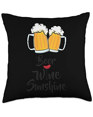 Funny Daytime Drinking Design Gifts Beer Wine Sunshine Design Throw Pillow, 18x18, Multicolor