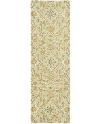 "Charlton Home Romarin Hand-Tufted Wool Ivory/Gold Area Rug BF089652 Rug Size: Runner 2'6"" x 8'"
