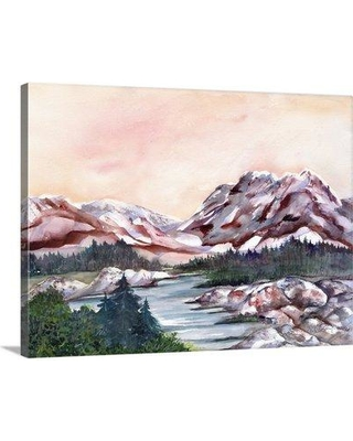 """Great Big Canvas 'Rocky Hills and Water' Neela Pushparaj Painting Print 2360583_1_ Size: 45"""" H x 60"""" W x 1.5"""" D Format: Canvas"""