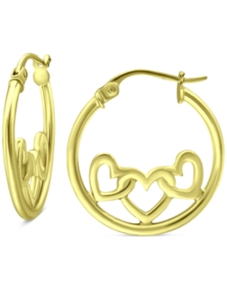 """Giani Bernini Heart Accent Small Hoop Earrings in 18k Gold-Plated Sterling Silver, 0.75"""", Created for Macy's"""