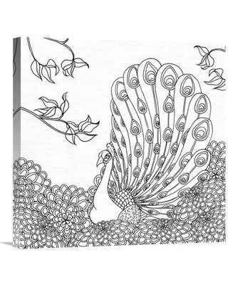 """East Urban Home 'Palace Peacock II Black and White' Graphic Art Print ETUM6091 Size: 24"""" H x 24"""" W Matte Color: No Matte Format: Wrapped Canvas"""