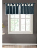 Madison Park Teal Emilia Lightweight Faux Silk Valance With Beads