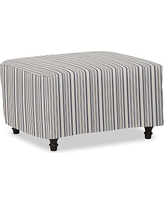 Carlisle Slipcovered Ottoman, Polyester Wrapped Cushions, Antique Stripe Blue