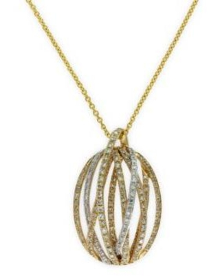 Effy Gold 5/8 ct. t.w. Diamond Pendant Necklace in 14k White and Yellow Gold